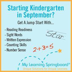 Kindergarten readiness at MyLearningSpringboard.com