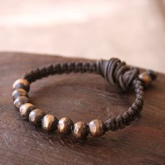 Solid Bronze Beaded Macrame Bracelet