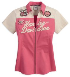 Harley-Davidson® Womens Berry/Sandshell Full Zip Pink Short Sleeve Woven Shirt size M