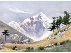 David Bellamy specialises in painting wild mountain and coastal scenes (watercolor) Watercolor Landscape Paintings, Landscape Drawings, Gouache Painting, Watercolour Painting, Painting & Drawing, Watercolours, Mountain Drawing, Mountain Paintings, Beautiful Landscapes