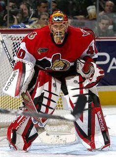 Patrick Lalime Goalie Gear, Hockey Helmet, Ice Hockey Teams, Goalie Mask, Hockey Goalie, Nhl, Canadian Tire Centre, Bernie Parent, Hockey Room