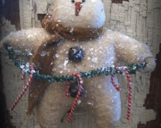 Instant Download Primitive Snowman Ornie Epattern by libertycreek