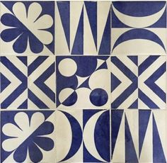 """The decorations of Giò Ponti """"Blu Ponti"""" of the Parco dei Principi hotel in Sorrento the Textile Patterns, Print Patterns, Tile Design, Pattern Design, Gio Ponti, Geometric Tiles, Repeating Patterns, Mosaic Tiles, Surface Design"""