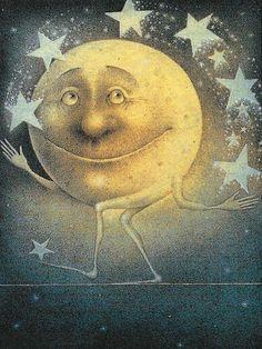 The Moon juggling Stars. Art by Wayne Anderson. Art And Illustration, Illustrations, Sun Moon Stars, Sun And Stars, Wayne Anderson, Moon Dance, Paper Moon, Good Night Moon, Moon Magic