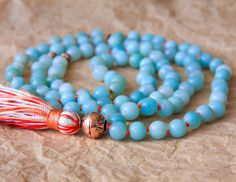 Amazonite Mala 108 Buddhist Prayer Bead Yoga Mala by MishkaSamuel, $65.00