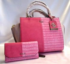5982c96be8 Guess Casey Satchel Passion Pink   GUESS Casey Slim Clutch Wallet set NWT
