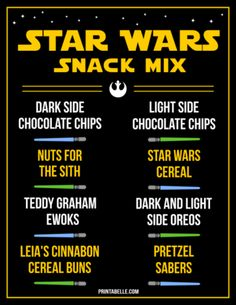 Star Wars Snack Mix Free Printable – Printables for Kids Parties & Games Star Wars Party Games, Kids Party Games, Games For Kids, Christmas Dinner Party Games, Printable Star, Printable Party, Star Wars Classroom, Star Wars Birthday, 9th Birthday