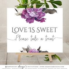 Purple Wedding Signs, Purple Peony Wedding Signs, Purple Floral Wedding Reception Decor, Guest Book Sign, Cards And Gifts Sign, Favors Sign, Love Is Sweet Please Take A Treat Sign – Soumya's Designs