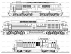 High detailed vector drawing of a Bulgarian diesel locomotives series 06, 55 and 07 used by Bulgarian State Railways (BDZ) over white background. The locomotives are drawn in the same scale and may be used as a template