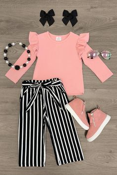 Pink Top Outfit, Blush Outfit, Blush Pink Top, Pink Long Sleeve Tops, Spandex Pants, Suede Skirt, Pink Stripes, Boutique Clothing, Skirt Set