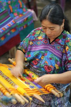 Back strap weaving, Women's cooperative textile workshop, Guatemala
