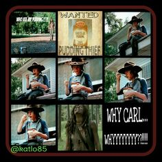 The Walking Dead Carl Grimes Pudding Thief . #puddin #pudding