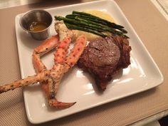 Angus Rib Eye, Steamed Crab Legs, Polenta and Roasted Asparagus