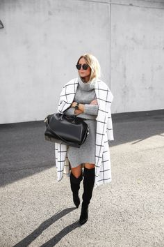 Over the Knee Boots / Grey Sweater Dress
