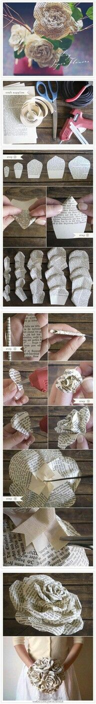 Love this step-by-step DIY paper rose (Wedding and Engagement Rings at www.brilliance.com)