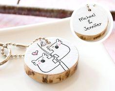 Couple Keychain PERSONALIZED Koala Adorable Gift Men Women Cute Drawing Love Heart Handmade Custom Round Keyring Reclaim Wood ECO FRIENDLY