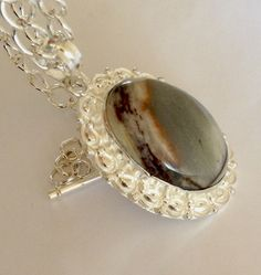 High Fashion Couture Ocean  Jasper Pendant by BranstoneMagicMaster, $45.00