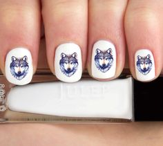 Wolf Nail Decals-24 ct. by babemade on Etsy https://www.etsy.com/listing/187757325/wolf-nail-decals-24-ct