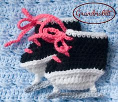 Crocheted Hockey Skates Soft Baby Girl Booties with by Grandmabilt, $20.00