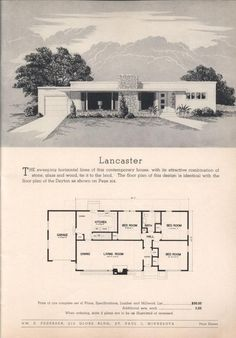 floor plan: 3 bdm mid-century house, good for corner lot or narrow lot if remove garage and switch to entry, Lancaster, Practical Homes 10th ed. 1953