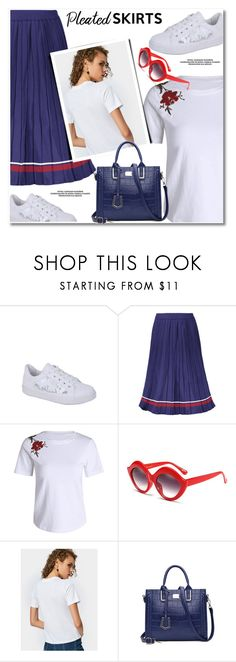 """Plated skirt"" by fshionme ❤ liked on Polyvore featuring BackToSchool"