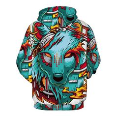 Men's Hoodie Mix Color Animal Pattern Print Fashion Casual Hoodie - COLORMIX S