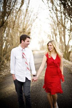 Engagement photos - Like the neutral background with the bright colored clothes