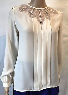 Vintage Ladies Blouse Ivory Cream Embellished Floral Neck Retro Fashion Size 14 | eBay