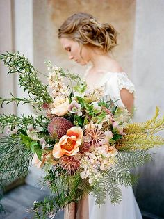 """Amazing Lush & Oversized """"Free Form"""" Wedding Bouquet With Very Unique Ingredients"""