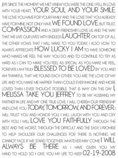 Lovely wedding vows to hang in your home as constant reminder of your promise.