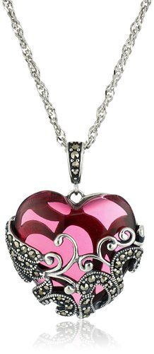 """Sterling Silver Oxidized Marcasite and Gemstone Colored Glass Filigree Heart Pendant Necklace, 18"""""""