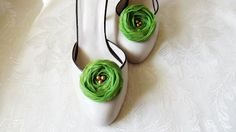 Green Chiffon Roses Shoe Clips by BizimFlowers on Etsy