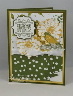 """Blog Post Date:  May 18, 2016.  A Friendship card featuring the Choose Happiness stamp set and the drape fold technique.  Other techniques included in this project include the Rock & Roll technique for the bird (on card front and inside the card) and the Masking technique (inside the card and on the envelope).  Other products used for this card include:  English Garden Designer Series Paper, Gold Foil Sheets, Label Bracket punch, Whisper White 3/8"""" Stitched Satin ribbon, and Metallic Foil…"""