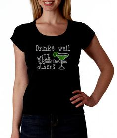 Drinks Well With Others Margarita RHINESTONE T-Shirt or tank top S M L XL XXL - Drinking Happy Hour on Etsy, $21.95