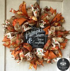 Burlap wreath fall wreath deco mesh wreath by MrsChristmasWorkshop