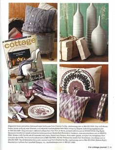 Lacefield Designs Fig Pillow Collection featured in the Winter 2014 issue of Cottage Journal #lacefielddesigns #radiantorchid #cottagedecor