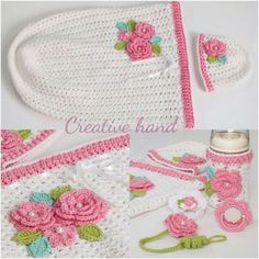 Baby crochet - This is a whole set of items that match....Bottle Coozy, Passy Keeper, Hat, etc...