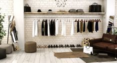 Glasgow, Entryway Bench, Wardrobe Rack, Furniture, Home Decor, Wall Panelling, Brick, Wood, Curved Walls