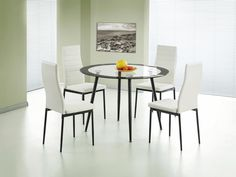 Heartlands Furniture Acodia PU Chairs with White PU & Black Frame Glass Table Set, Glass Dining Table, Dining Set, Oak Dining Room, Dining Room Furniture, Dining Chairs, Compact Furniture, Extendable Dining Table, Cool Chairs