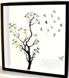 Fly away with me paper tree butterflies framed art unique present. By Love Paper Scissors