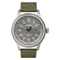 For Dad, a casual weekend watch. Timex Mens Canvas Strap Watch - Green
