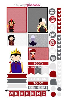 DISNEY VILLAIN Inspired Weekly theme sticker set by PlanwithPizazz