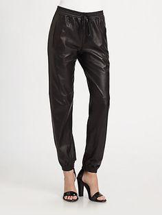 Vince - Leather Jogging Pants - Saks.com