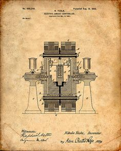 This is a print of the patent drawing for a Nikola Tesla Electric Circuit Controller patent in N Tesla, Tesla Coil, Tesla Power, Nikola Tesla Patents, Nicola Tesla, Tesla Inventions, Tesla Technology, Electric Circuit, Patent Drawing