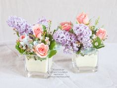 Mini centerpieces look great grouped together or alone
