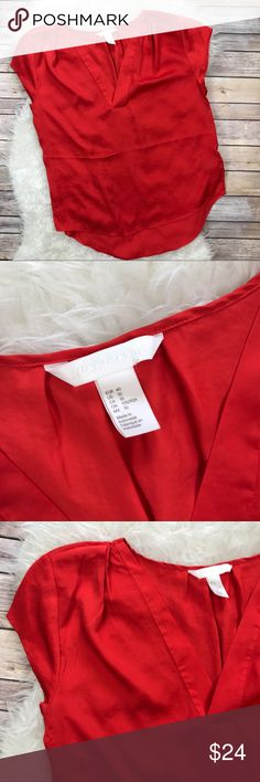 """H&M Conscious Collection Red Tunic Blouse Excellent condition H&M Conscious Collection Red Tunic Blouse. Size 10. Vented neckline, cap sleeves. 100% polyester. Bust 46"""", length 30"""" at back, length at front 25"""". No trades, offers welcome. H&M Tops Tunics"""