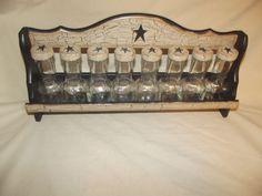 Primitive Crackle Wood Spice Rack & 8 Glass Bottles ~ Black Stars  Country Decor #NaivePrimitive
