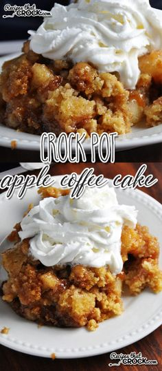 This Crock Pot Apple Coffee Cake is the perfect treat for breakfast, dessert or as a snack! Slow Cooker Desserts, Crock Pot Desserts, Crockpot Dishes, Crock Pot Slow Cooker, Crock Pot Cooking, Crockpot Dessert Recipes, Slow Cooker Dump Cake Recipe, Crock Pot Apple Dessert, Crock Pot Breakfast Recipes