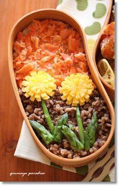 日本人のごはん/お弁当 Japanese meals/Bento たんぽぽ弁当 Dandelion Lunch Bento うわ可愛いネ〜(´ω`* )