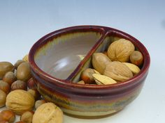 Wheel Thrown Stoneware Divided Bowl by mountainhomepottery on Etsy, $30.00